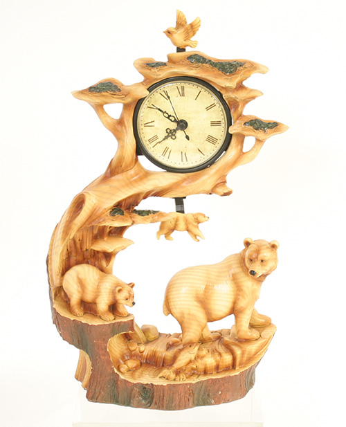 X5951 Wood Look Triple Bear Clock