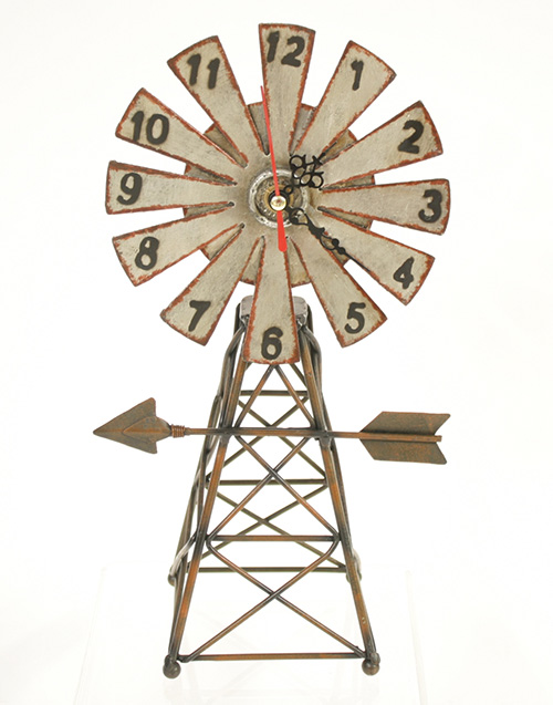 X9370 Metal Windmill Desk Clock