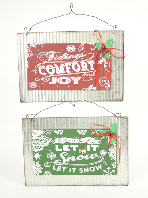 C18635 Metal & Wood Holiday Signs