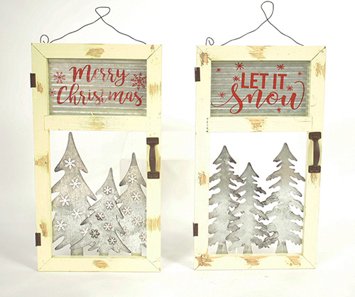 C18636 Wood & Mtl Christmas Signs