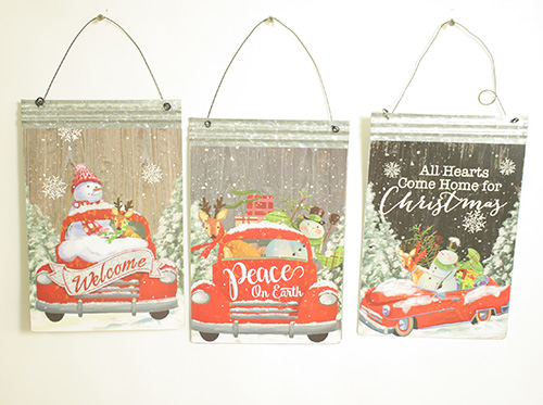 C19081 Red Truck Christmas Signs